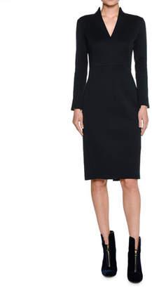 Piazza Sempione High-Neck Long-Sleeve Sheath Dress, Navy
