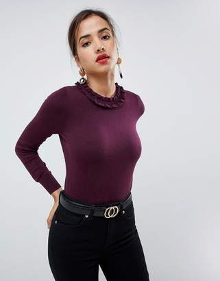 Oasis sweater with frill neck in burgundy