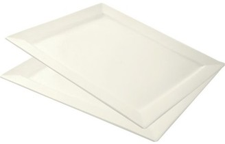 "10 Strawberry Street Whittier 17"" x 15"" Rectangle Platters, Set of 2, White"
