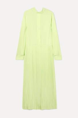 Cédric Charlier Pleated Crepe De Chine Maxi Dress - Light green