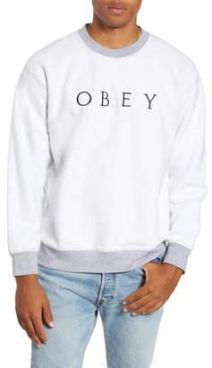 Obey Trophy Reverse Fleece Crewneck Sweatshirt