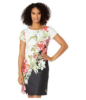 Adrianna Papell Cap Sleeve Printed Scuba A-Line Dress