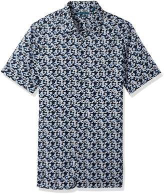 Perry Ellis Men's Big and Tall Short Sleeve Abstract Floral Print Shirt, 2XL