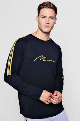 boohoo MAN Signature Long Sleeve T-Shirt With Side Tape