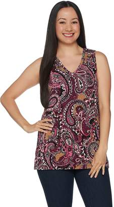 Denim & Co. Perfect Jersey Paisley Print V-Neck Tunic Tank Top