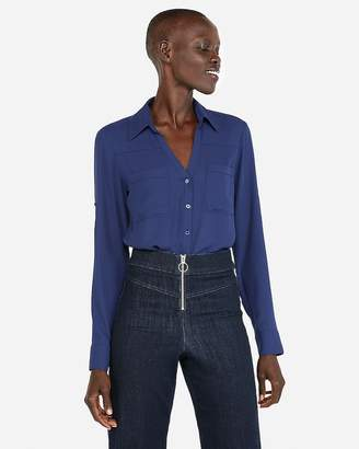 86b4c9b24aaa4 Express Slim Fit Convertible Sleeve Portofino Shirt