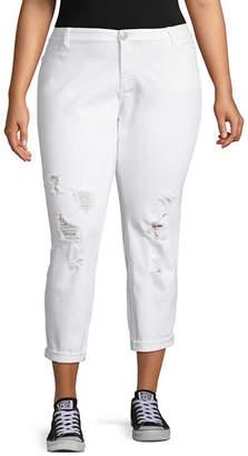 Boutique + + White Ripped Girlfriend Crop Jean - Plus