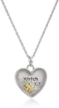 """Sterling Silver Floating Crystals Angel""""Watch Over Me"""" Pendant Necklace"""