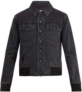Saint Laurent Ribbed-knit detail denim jacket