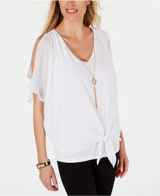 JM Collection Petite Cold-Shoulder Necklace Top