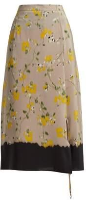 Altuzarra Felice Floral Print Silk Crepe De Chine Midi Skirt - Womens - Beige Multi
