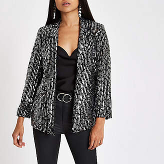 River Island Petite black sequin embellished blazer