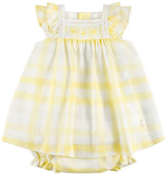 Carrera Pili Gingham Ruffle-Sleeve Dress w/ Bloomers, Yellow, Size 12M-3Y