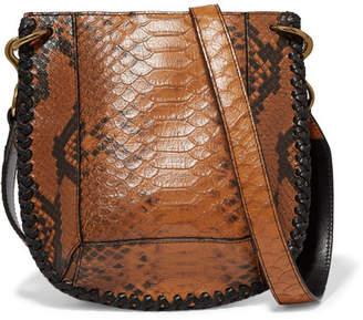 Isabel Marant Nasko Whipstitched Snake-effect Leather Shoulder Bag - Tan