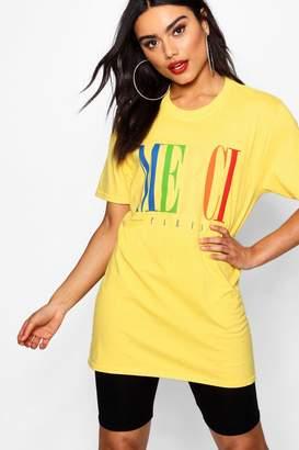 boohoo Vicky Merci Rainbow Slogan Tee