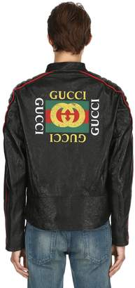 Gucci Logo Printed Leather Moto Jacket