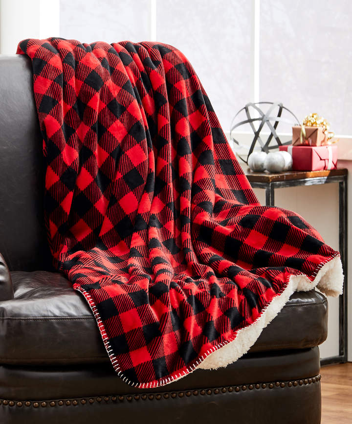 Red & Black Buffalo Plaid Sherpa Throw