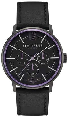 Ted Baker Jason Multifunction Leather Strap Watch, 42mm