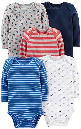 Carter's Simple Joys by Boys' 5-Pack Long-Sleeve Bodysuit