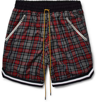 Rhude Checked Cotton Drawstring Shorts
