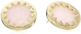 House Of Harlow Sunburst Rose Quartz Button Stud Earrings