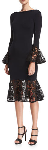 Sachin & Babi Kochi Scoop-Back Fitted Midi Cocktail Dress w/ Lace