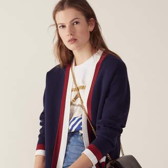 Sandro Fine Knit Collegiate Cardigan