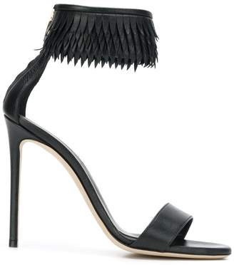 Grey Mer fringed ankle strap sandals