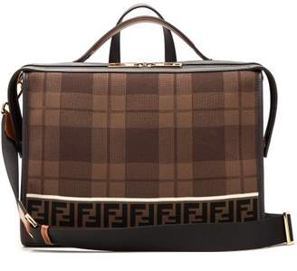 Fendi Lui Logo Knit Leather Trimmed Messenger Bag - Mens - Brown Multi