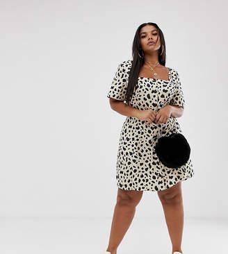 c61e7636d18 Asos DESIGN Curve button through mini skater dress in leopard print