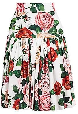 Dolce & Gabbana Dolce& Gabbana Dolce& Gabbana Women's Floral Poplin Pleated A-Line Skirt