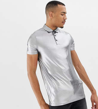 Asos Design DESIGN Tall polo shirt in drapey metallic in sliver