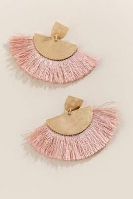 francesca's Carrie Tassel Fan Earrings - Rose