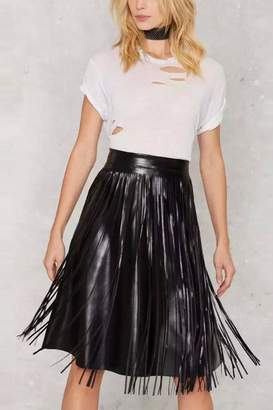 Goldie Faux Leather Fringe Skirt
