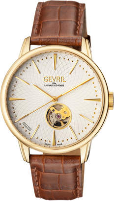 Mulberry Gevril Men's Automatic Brown Leather Strap Watch