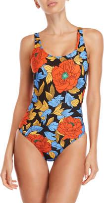 Diane von Furstenberg Floral Grommet Side One-Piece Swimsuit