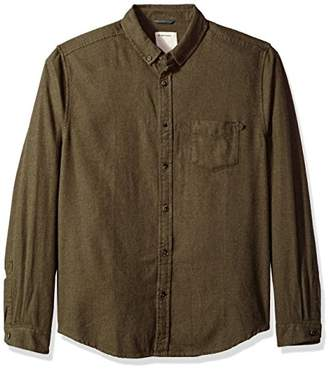 Life After Denim Men's Long Sleeve Slim Fit Greenpoint Solid Flannel Shirt