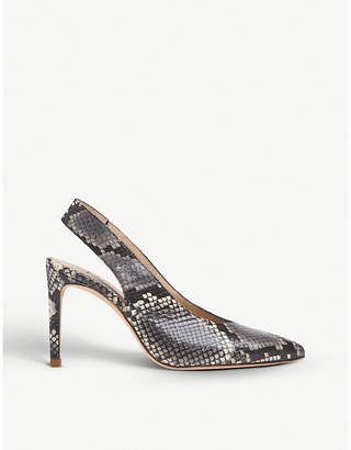 LK Bennett Ilana snakeskin-effect leather slingback courts
