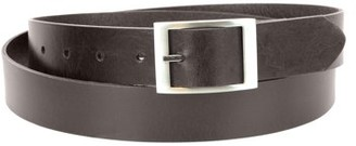 Montauk Leather Club 1-1/4 in. US Steer Hide Leather Men's Dress Belt with Brushed Nickel Finish Mid Bar Buckle