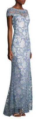 Tadashi Shoji Short Sleeve Lace Gown $555 thestylecure.com