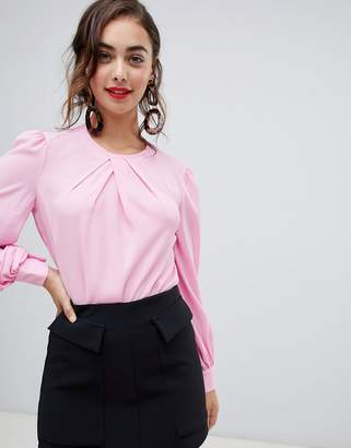 Warehouse pleat neck long sleeve top in pink