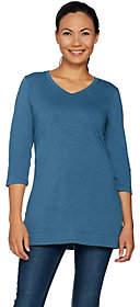Denim & Co. Essentials 3/4 Sleeve V-Neck Tunicw/ Side Slits