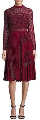 Self-Portrait Medallion-Lace Midi Dress w/Plissé Skirt, Burgundy $475 thestylecure.com