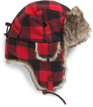 Plaid Wool Blend Trapper Hat