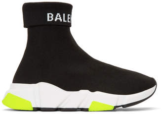 Balenciaga Black Logo Speed High-Top Sneakers