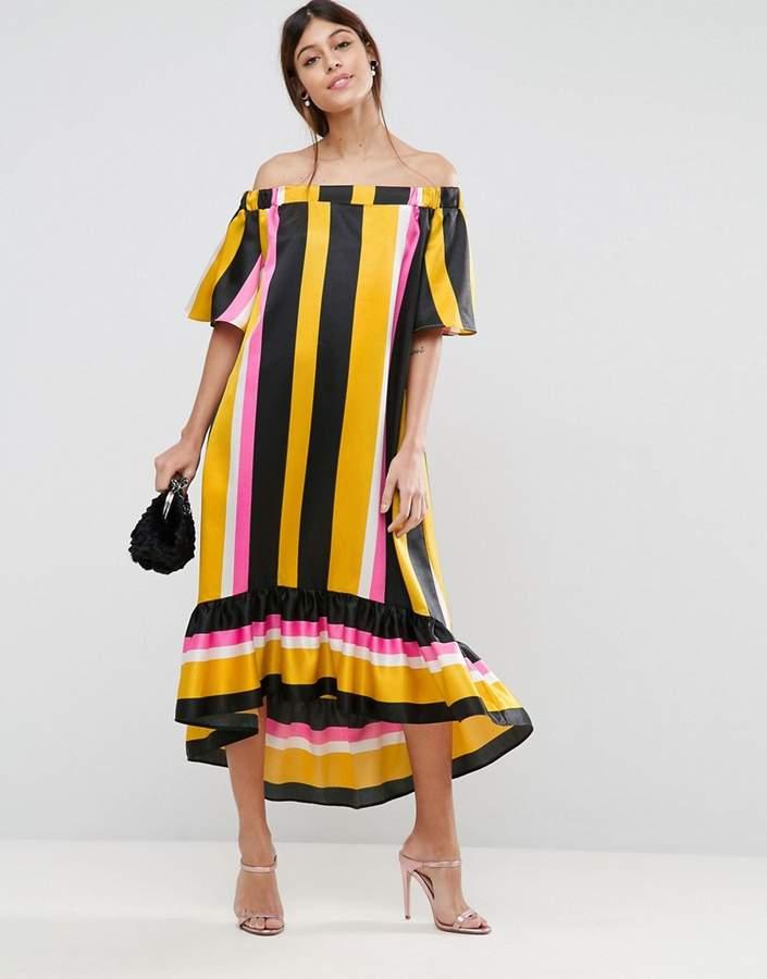 AsosASOS Bardot Stripe Longer Length Midi Dress