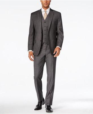 MICHAEL Michael Kors Men's Classic-Fit Charcoal Windowpane Plaid Vested Suit $650 thestylecure.com