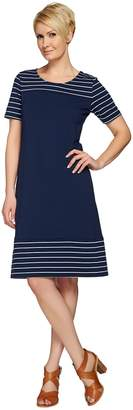 Denim & Co. Short Sleeve French Terry Dress with Stripes