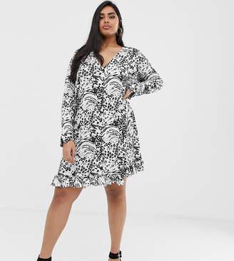 0256935765c7 Asos DESIGN Curve animal print button through mini dress