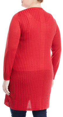 Neiman Marcus Plus Long Open-Front Cardigan, Plus Size